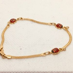 18 k gold ladybug bracelet
